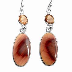 19.18cts natural brown imperial jasper 925 silver dangle earrings jewelry p78589
