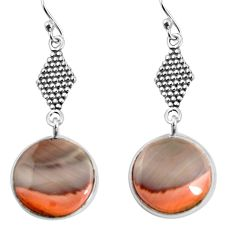 14.73cts natural brown imperial jasper 925 silver dangle earrings jewelry p91809
