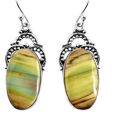 17.95cts natural brown imperial jasper 925 silver dangle earrings jewelry p91929
