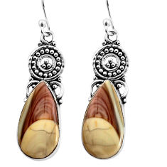 14.40cts natural brown imperial jasper 925 silver dangle earrings jewelry p91930