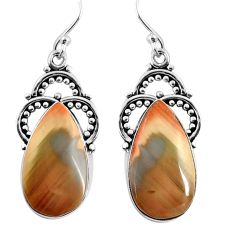 16.17cts natural brown imperial jasper 925 silver dangle earrings jewelry p91933