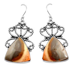 20.86cts natural brown imperial jasper 925 silver dangle earrings jewelry p91934