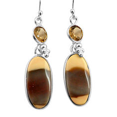 19.09cts natural brown imperial jasper 925 silver dangle earrings p78581