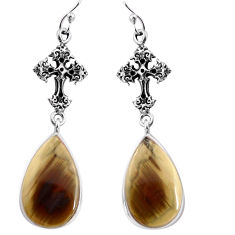 17.53cts natural brown imperial jasper 925 silver holy cross earrings p91802