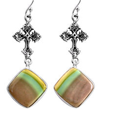 16.88cts natural brown imperial jasper 925 silver holy cross earrings p91803