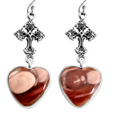 19.24cts natural brown imperial jasper 925 silver holy cross earrings p91807