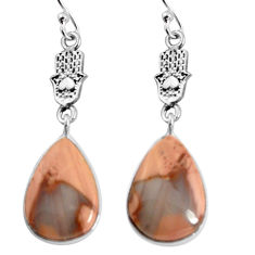 13.08cts natural brown imperial jasper silver hand of god hamsa earrings p91805