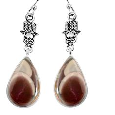 12.52cts natural brown imperial jasper silver hand of god hamsa earrings p91810