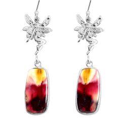 17.22cts natural brown mookaite 925 silver angel wings fairy earrings d31555