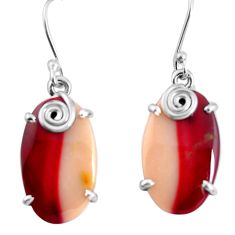 18.14cts natural brown mookaite 925 sterling silver dangle earrings p91932