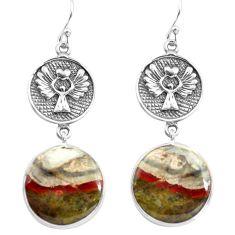 18.15cts natural brown mushroom rhyolite 925 silver dangle earrings p72546