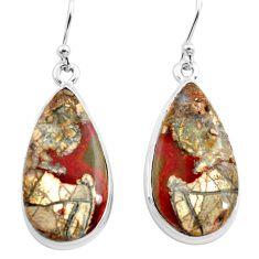 18.46cts natural brown mushroom rhyolite 925 silver dangle earrings p72726