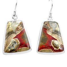 22.02cts natural brown mushroom rhyolite 925 silver dangle earrings p72727