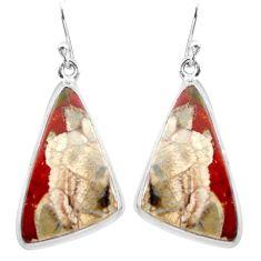 20.51cts natural brown mushroom rhyolite 925 silver dangle earrings p72730