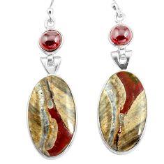 17.35cts natural brown mushroom rhyolite 925 silver dangle earrings p78532
