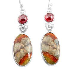 14.91cts natural brown mushroom rhyolite 925 silver dangle earrings p78533