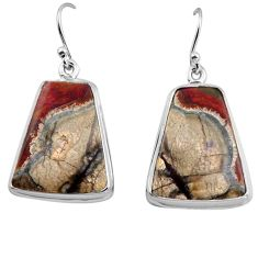 22.02cts natural brown mushroom rhyolite 925 silver dangle earrings p88762
