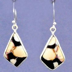 NATURAL BROWN PEANUT PETRIFIED WOOD FOSSIL 925 SILVER DANGLE EARRINGS G94063