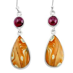 12.29cts natural brown picture jasper garnet 925 silver dangle earrings p50798
