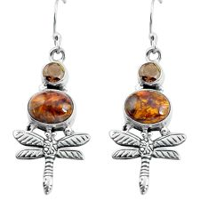 8.43cts natural brown pietersite (african) 925 silver dragonfly earrings d31536