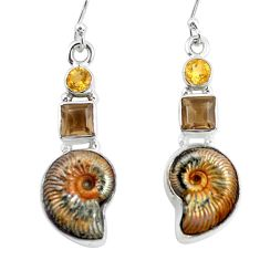 19.99cts natural brown russian jurassic opal ammonite 925 silver earrings p64702