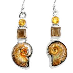 17.67cts natural brown russian jurassic opal ammonite 925 silver earrings p64704
