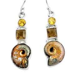 16.92cts natural brown russian jurassic opal ammonite 925 silver earrings p64706