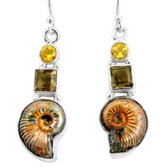 16.46cts natural brown russian jurassic opal ammonite 925 silver earrings p64707