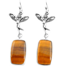 17.57cts natural brown tiger's eye 925 silver angel wings fairy earrings p72508