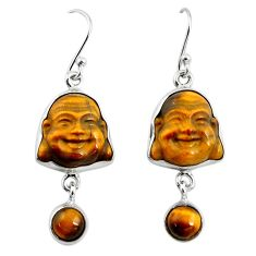 16.18cts natural brown tiger's eye 925 silver buddha charm earrings p78155