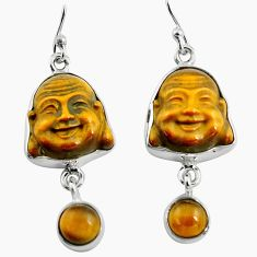 16.20cts natural brown tiger's eye 925 silver buddha charm earrings p78169