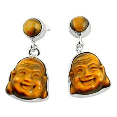 16.18cts natural brown tiger's eye 925 silver buddha charm earrings p78175