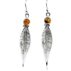 1.81cts natural brown tiger's eye 925 silver deltoid leaf earrings p85000