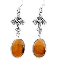 13.09cts natural brown tiger's eye 925 silver holy cross earrings p72506