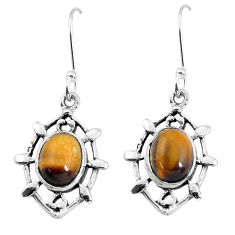 7.04cts natural brown tiger's eye 925 sterling silver dangle earrings p58116