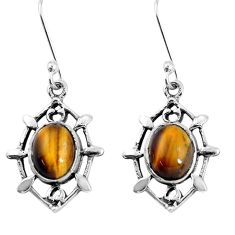 6.12cts natural brown tiger's eye 925 sterling silver dangle earrings p58118