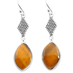 10.75cts natural brown tiger's eye 925 sterling silver dangle earrings p72507