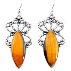 19.82cts natural brown tiger's eye 925 sterling silver dangle earrings p72661