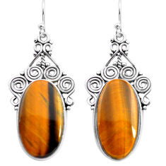 22.22cts natural brown tiger's eye 925 sterling silver dangle earrings p72663