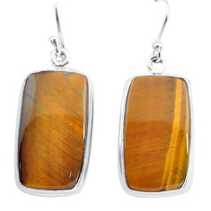 25.00cts natural brown tiger's eye 925 sterling silver dangle earrings p72738