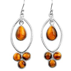 9.86cts natural brown tiger's eye 925 sterling silver dangle earrings p77448