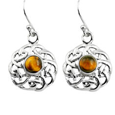 1.94cts natural brown tiger's eye 925 sterling silver dangle earrings p84991