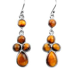10.05cts natural brown tiger's eye 925 sterling silver dangle earrings p88349