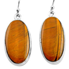 22.59cts natural brown tiger's eye 925 sterling silver dangle earrings p88741