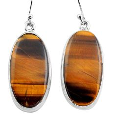 25.00cts natural brown tiger's eye 925 sterling silver dangle earrings p88743