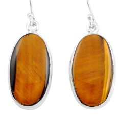 21.48cts natural brown tiger's eye 925 sterling silver dangle earrings p88746