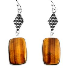 15.31cts natural brown tiger's eye 925 sterling silver dangle earrings p91885