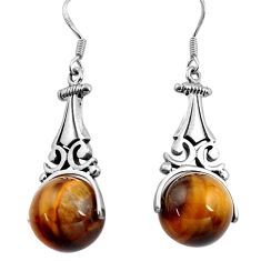 26.43cts natural brown tiger's eye 925 sterling silver earrings jewelry c4482