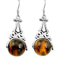 29.63cts natural brown tiger's eye 925 sterling silver earrings jewelry c4483