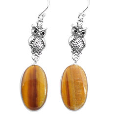 15.65cts natural brown tiger's eye 925 sterling silver owl earrings p72510